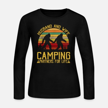 Husband And Wife Bigfoot Camping Partners For Life - Women's Jersey Longsleeve Shirt