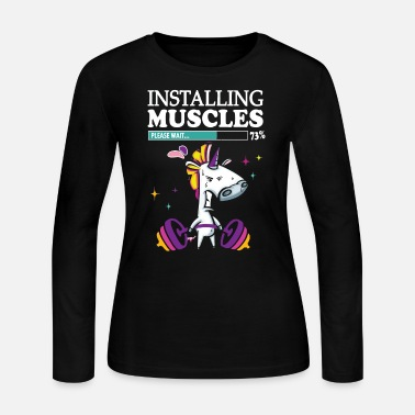 Funny Gym Unicorn Installing muscles please wait - Women's Long Sleeve Jersey T-Shirt