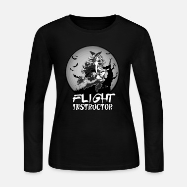 Flight School Sexy Witch Flight Instructor School Halloween Gift - Women's Jersey Longsleeve Shirt