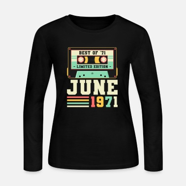 1971 50th Birthday June Gift Vintage 1971 50 Years - Women's Jersey Longsleeve Shirt
