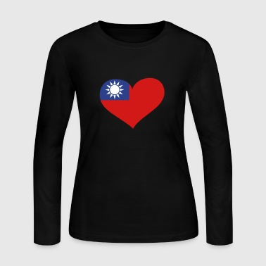 Taiwan Heart; Love Taiwan - Women's Long Sleeve Jersey T-Shirt