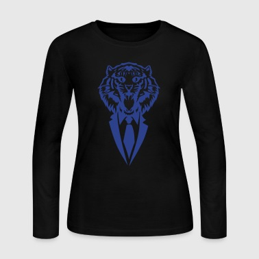 tiger suit and tie tie 2502 - Women's Long Sleeve Jersey T-Shirt