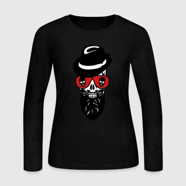 Death head skull cap hat beard beard 8 - Women's Long Sleeve Jersey T-Shirt
