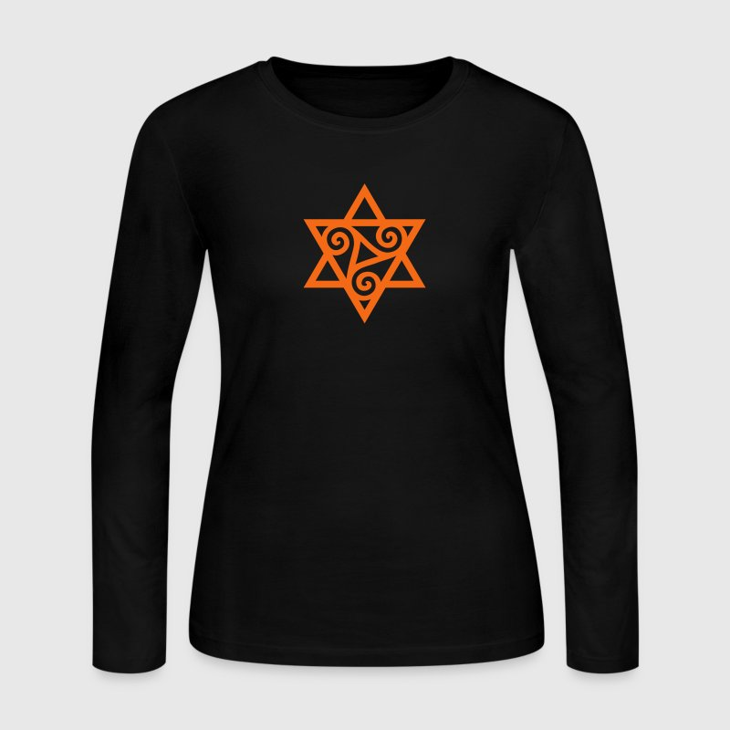 TRISKELE: Yin power symbol, vector, Merkaba, Energy Symbol, Protection Force - Women's Long Sleeve Jersey T-Shirt