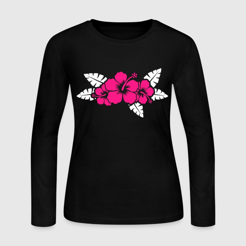 Hawaiian Flower Floral Design - Women's Long Sleeve Jersey T-Shirt