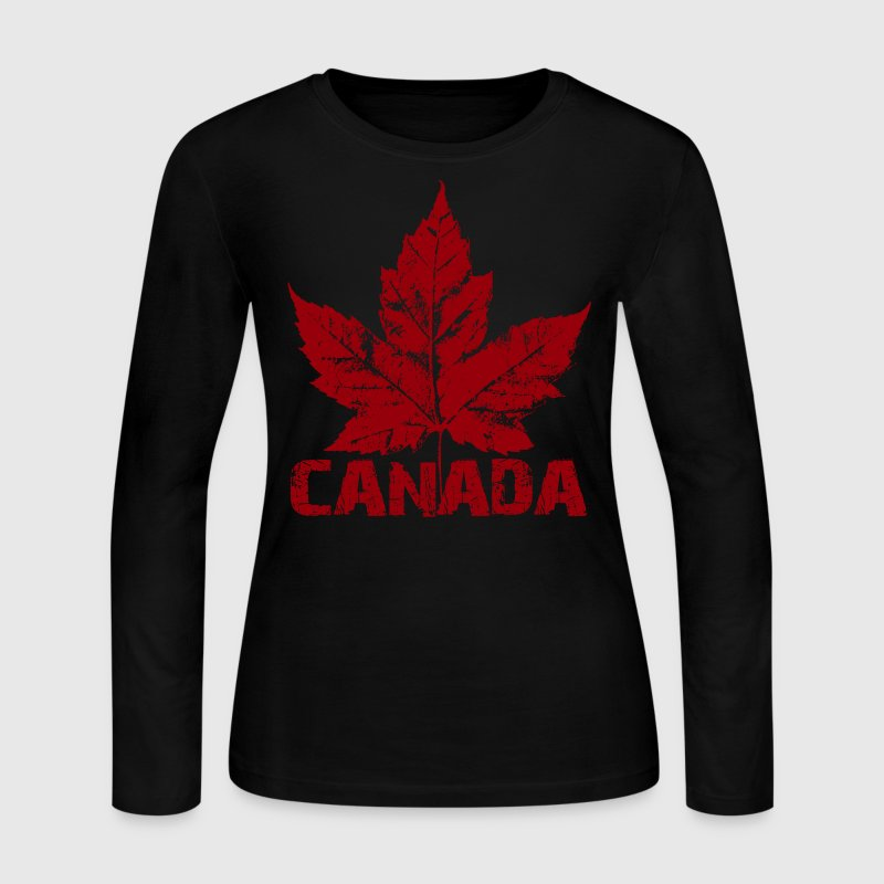Cool Canada Souvenir Distressed Maple Leaf Art for - Women's Long Sleeve Jersey T-Shirt