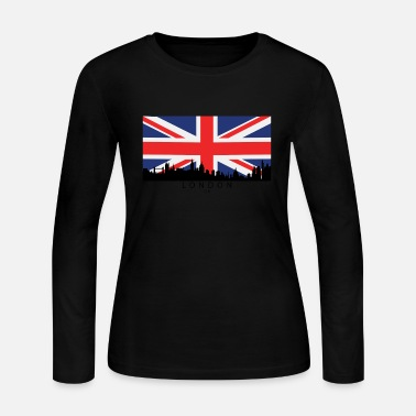 British Flag London England UK Skyline British Flag - Women's Long Sleeve Jersey T-Shirt