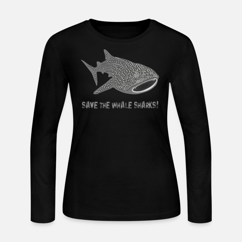 Whale Long sleeve shirts - save the whale shark sharks fish dive diver diving endangered species - Women's Jersey Longsleeve Shirt black