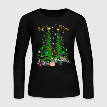 Artsy Christmas Tree and Decorations - Women's Long Sleeve Jersey T-Shirt