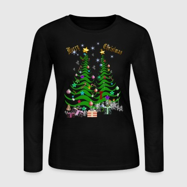 Present Artsy Christmas Tree and Decorations - Women's Long Sleeve Jersey T-Shirt