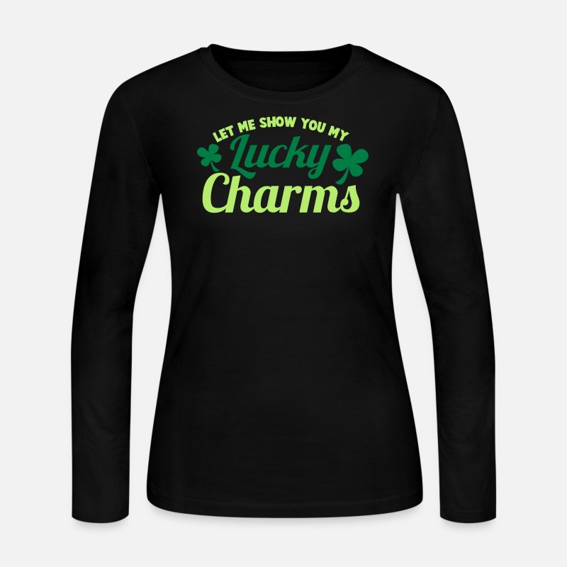 St Patricks Day Long sleeve shirts - LET ME SHOW you my Lucky Charms with a shamrock - Women's Jersey Longsleeve Shirt black