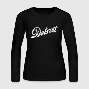 Old Vintage Detroit Retro Script - Women's Long Sleeve Jersey T-Shirt