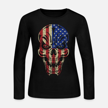 Usa Badass Skull USA Flag - Women's Long Sleeve Jersey T-Shirt