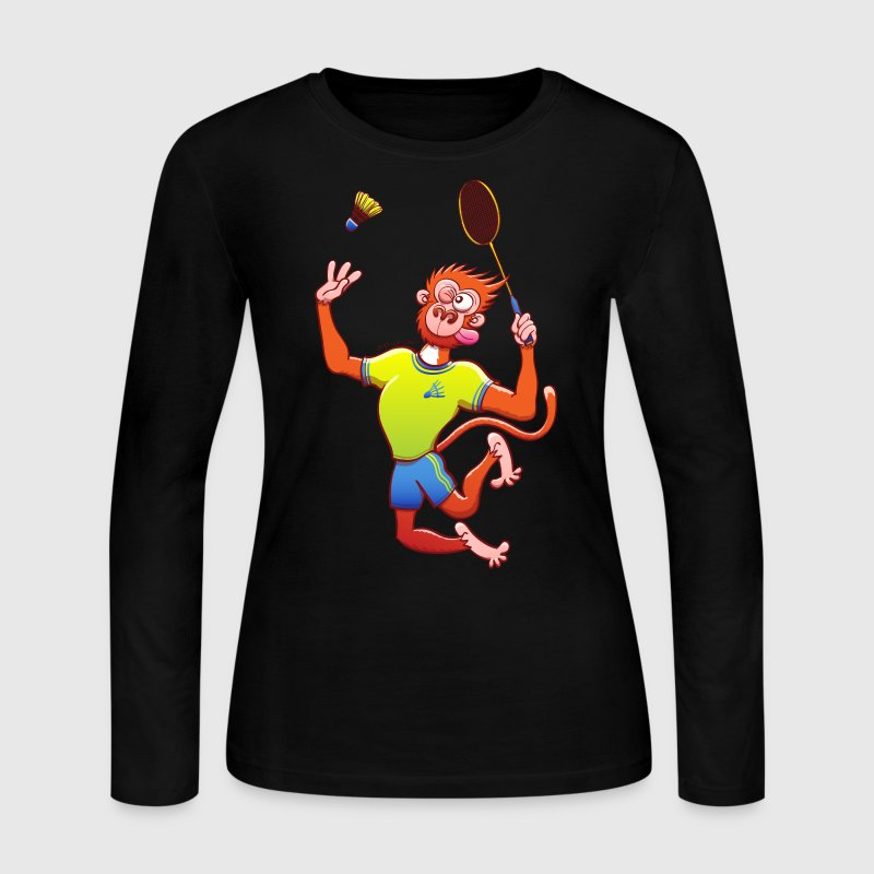 Red Monkey Playing Badminton - Women's Long Sleeve Jersey T-Shirt