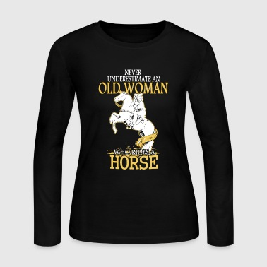 Old Woman Rides A Horse - Women's Long Sleeve Jersey T-Shirt