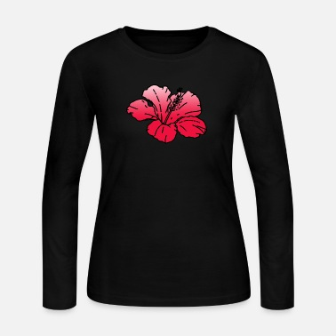 Large Hibiscus (Red) - Women's Long Sleeve Jersey T-Shirt