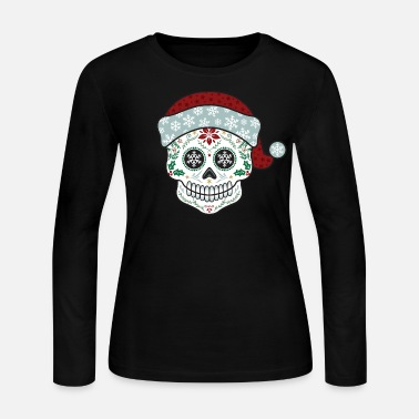 Skull Sugar Skull Santa - Women's Long Sleeve Jersey T-Shirt