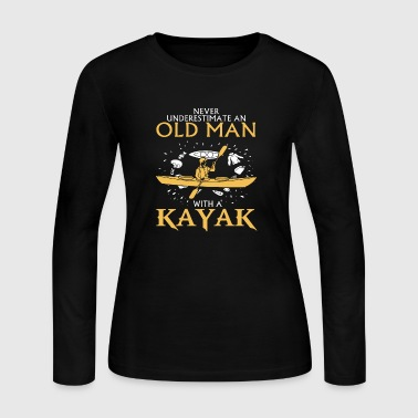 Old Man With A Kayak - Women's Long Sleeve Jersey T-Shirt