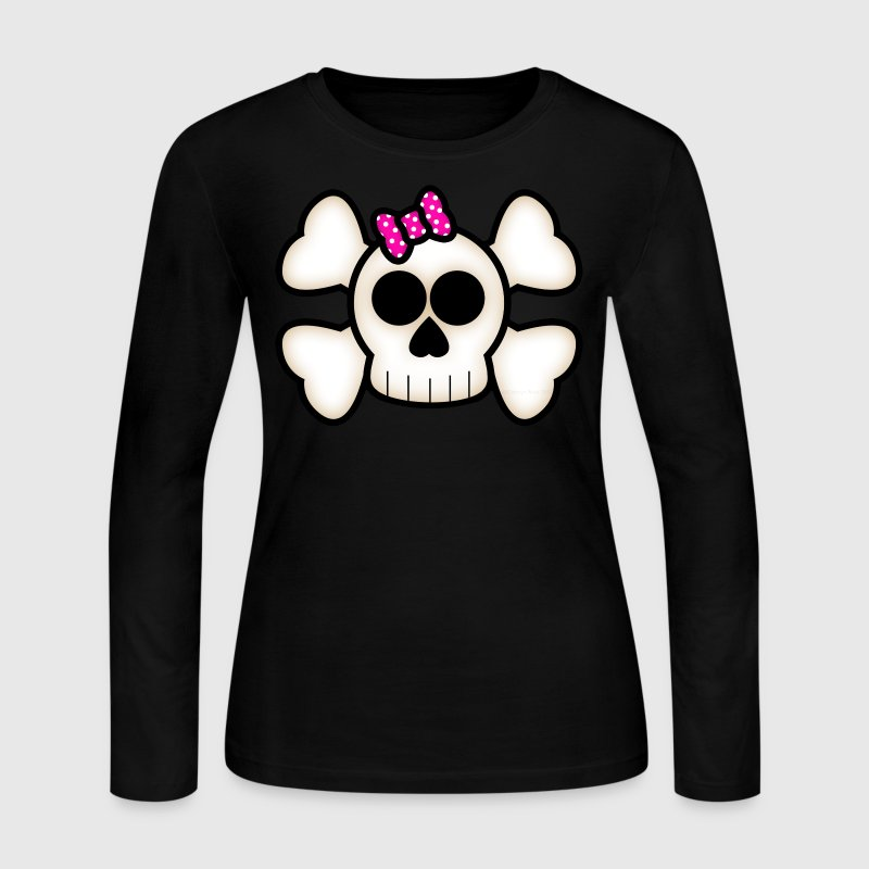 Kawaii Skull & Crossbones - Women's Long Sleeve Jersey T-Shirt