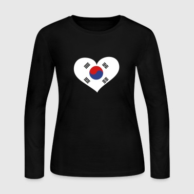 South Korea Heart; Love South Korea - Women's Long Sleeve Jersey T-Shirt
