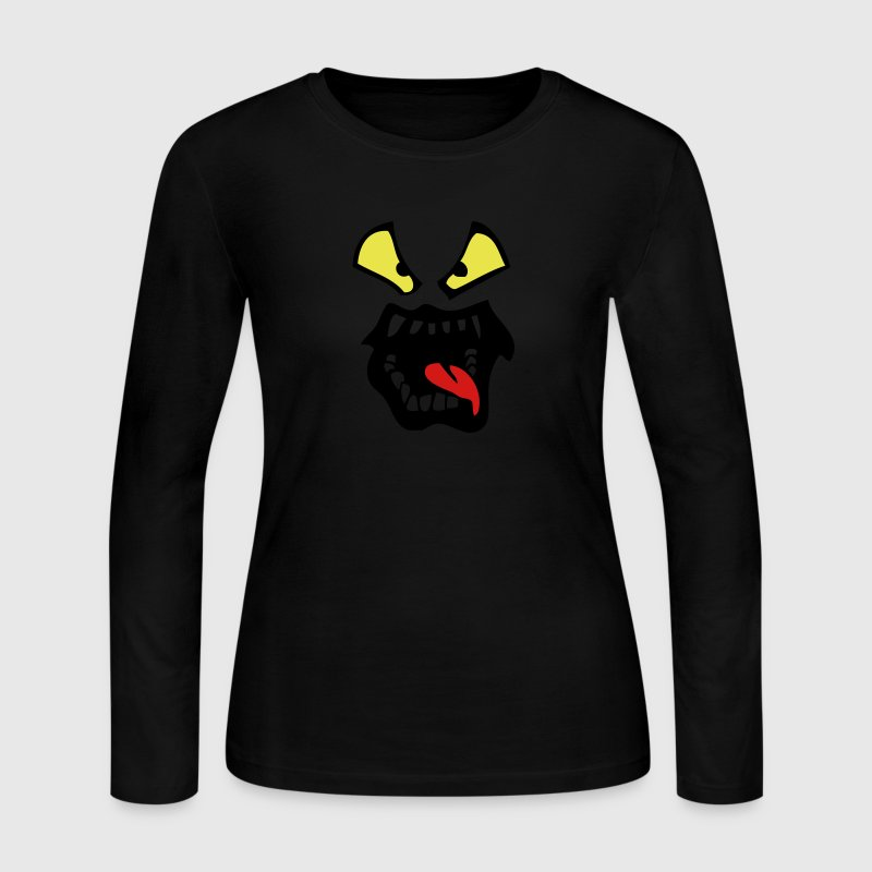 cartoon face language tiger mouth open - Women's Long Sleeve Jersey T-Shirt