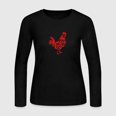 tribal cock rooster 107 - Women's Long Sleeve Jersey T-Shirt
