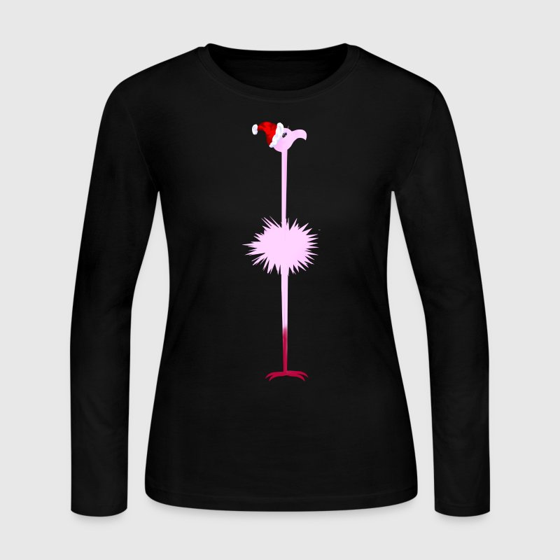 Pink Christmas Flamingo 2 - Women's Long Sleeve Jersey T-Shirt