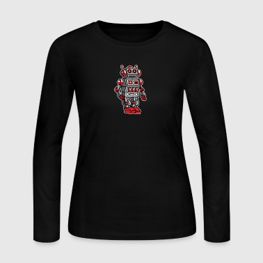 Retro Metal Toy Robot - Women's Long Sleeve Jersey T-Shirt