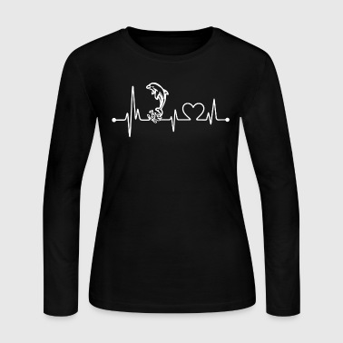 Dolphin Heart Shirt - Women's Long Sleeve Jersey T-Shirt