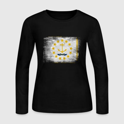 Rhode Island State Flag Distressed Vintage Shirt - Women's Long Sleeve Jersey T-Shirt