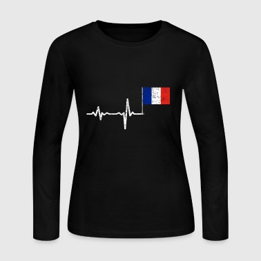 Heartbeat France french flag gift - Women's Long Sleeve Jersey T-Shirt