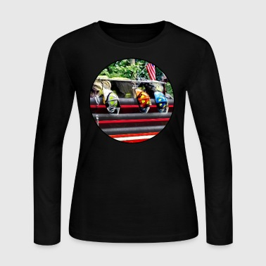 Three Fire Helmets on Fire Truck - Women's Long Sleeve Jersey T-Shirt