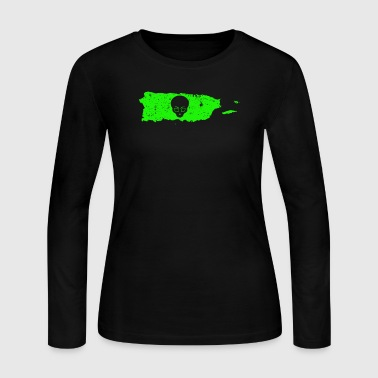 UFO Secrets Green Alien Puerto Rico Cute Alien UFO Hunter - Women's Long Sleeve Jersey T-Shirt