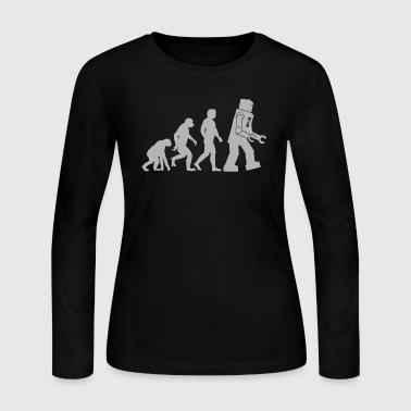 Robot Evolution (grey)  - Women's Long Sleeve Jersey T-Shirt