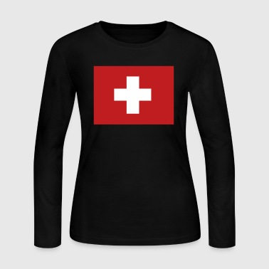 Swiss Flag - Women's Long Sleeve Jersey T-Shirt