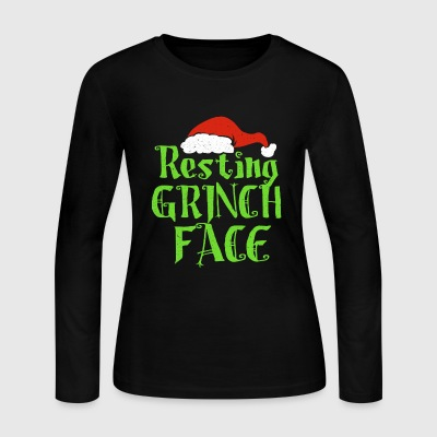 Resting Grinch Face Xmas Present gift - Women's Long Sleeve Jersey T-Shirt