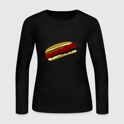 hotdog hot dog sausages fast food fastfood16 - Women's Long Sleeve Jersey T-Shirt