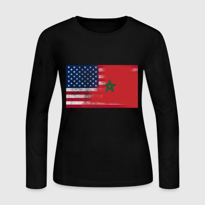 Moroccan American Half Morocco Half America Flag - Women's Long Sleeve Jersey T-Shirt