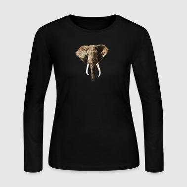 Elephant Geographic Head Illustration - Women's Long Sleeve Jersey T-Shirt
