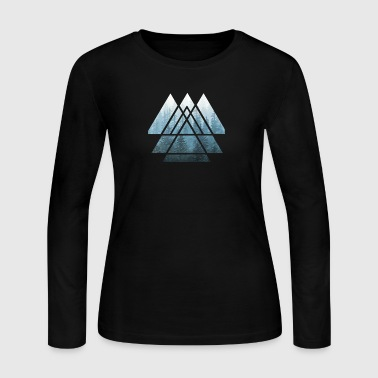 Sacred Geometry Triangles Misty Forest - Women's Long Sleeve Jersey T-Shirt