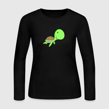 Funny turtle reptile smiling wildlife - Women's Long Sleeve Jersey T-Shirt