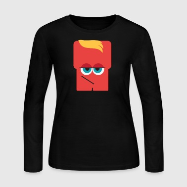 red_cute_monster_with_yellow_hair - Women's Long Sleeve Jersey T-Shirt