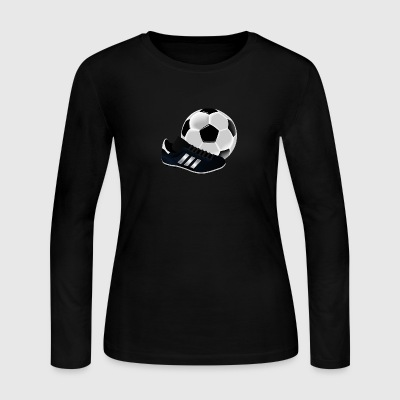 soccer ball with cleat - Women's Long Sleeve Jersey T-Shirt