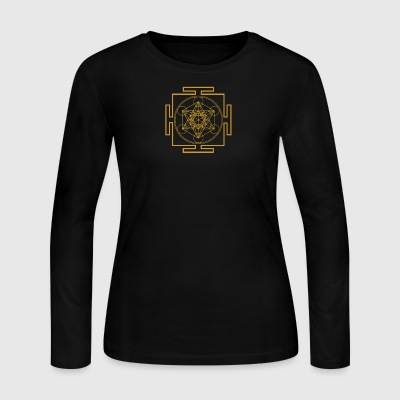 Yantra metatrons cube merkaba sacred geometry - Women's Long Sleeve Jersey T-Shirt