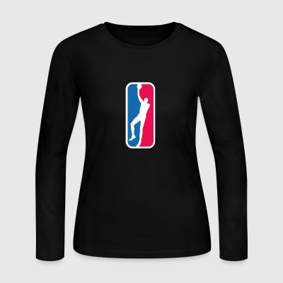 Kareem Abdul-Jabbar as the NBA logo - Women's Long Sleeve Jersey T-Shirt