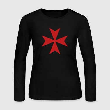 Maltese Style Cross - Women's Long Sleeve Jersey T-Shirt