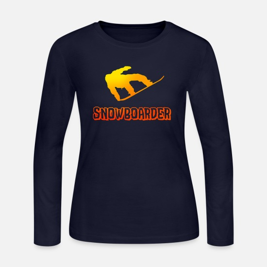 Freestyle Long-Sleeve Shirts - Jumping Snowboarder Boarder Snow - Women's Jersey Longsleeve Shirt navy
