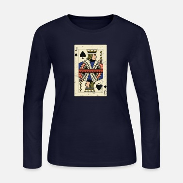 Deck Cool and Trendy Jack Card Design - Women's Long Sleeve Jersey T-Shirt