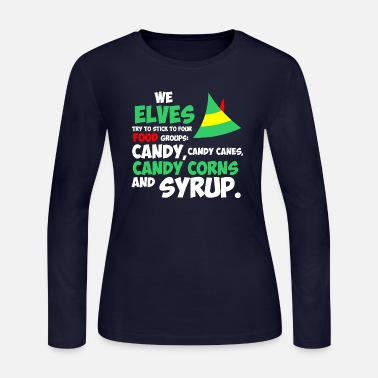 Elves We Elves Try To Stick To Four Food Groups Christma - Women's Jersey Longsleeve Shirt