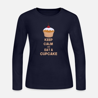 Calm Funny Keep calm and eat a cupcake - Women's Long Sleeve Jersey T-Shirt